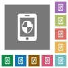 Smartphone protection square flat icons - Smartphone protection flat icons on simple color square backgrounds