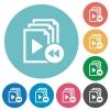 Playlist fast backward flat round icons - Playlist fast backward flat white icons on round color backgrounds