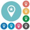POI GPS map location flat round icons - POI GPS map location flat white icons on round color backgrounds