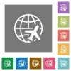 World travel flat icons on simple color square backgrounds - World travel square flat icons