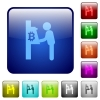 Bitcoin cash machine color square buttons - Bitcoin cash machine icons in rounded square color glossy button set