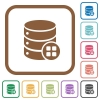 Database modules simple icons - Database modules simple icons in color rounded square frames on white background