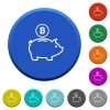 Bitcoin piggy bank beveled buttons - Bitcoin piggy bank round color beveled buttons with smooth surfaces and flat white icons