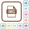 IMG file format simple icons in color rounded square frames on white background - IMG file format simple icons
