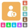 Upload user account rounded square flat icons - Upload user account flat icons on rounded square vivid color backgrounds.
