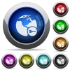 Secure internet surfing round glossy buttons - Secure internet surfing icons in round glossy buttons with steel frames