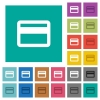 Single credit card square flat multi colored icons - Single credit card multi colored flat icons on plain square backgrounds. Included white and darker icon variations for hover or active effects.