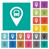 Public transport GPS map location square flat multi colored icons - Public transport GPS map location multi colored flat icons on plain square backgrounds. Included white and darker icon variations for hover or active effects.