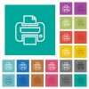 Print square flat multi colored icons - Print multi colored flat icons on plain square backgrounds. Included white and darker icon variations for hover or active effects.