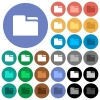 Tab folder round flat multi colored icons - Tab folder multi colored flat icons on round backgrounds. Included white, light and dark icon variations for hover and active status effects, and bonus shades on black backgounds.