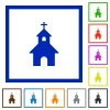 Curch flat framed icons - Curch flat color icons in square frames on white background