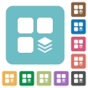 Multiple components rounded square flat icons - Multiple components white flat icons on color rounded square backgrounds