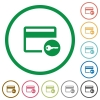 Credit card access flat icons with outlines - Credit card access flat color icons in round outlines on white background