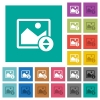 Vertically move image square flat multi colored icons - Vertically move image multi colored flat icons on plain square backgrounds. Included white and darker icon variations for hover or active effects.
