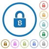Locked Bitcoins icons with shadows and outlines - Locked Bitcoins flat color vector icons with shadows in round outlines on white background