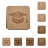 Graduate cap wooden buttons - Graduate cap on rounded square carved wooden button styles