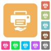 Shared printer rounded square flat icons - Shared printer flat icons on rounded square vivid color backgrounds.