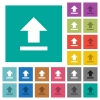 Upload square flat multi colored icons - Upload multi colored flat icons on plain square backgrounds. Included white and darker icon variations for hover or active effects.