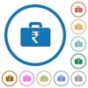 Indian Rupee bag icons with shadows and outlines - Indian Rupee bag flat color vector icons with shadows in round outlines on white background