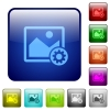 Image settings color square buttons - Image settings icons in rounded square color glossy button set