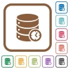 Database timed events simple icons - Database timed events simple icons in color rounded square frames on white background