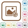 Disabled image simple icons - Disabled image simple icons in color rounded square frames on white background