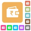Indian Rupee wallet rounded square flat icons - Indian Rupee wallet flat icons on rounded square vivid color backgrounds.