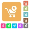 Checkout with Yen cart rounded square flat icons - Checkout with Yen cart flat icons on rounded square vivid color backgrounds.