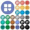 Favorite component round flat multi colored icons - Favorite component multi colored flat icons on round backgrounds. Included white, light and dark icon variations for hover and active status effects, and bonus shades on black backgounds.