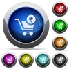 Checkout with Rupee cart round glossy buttons - Checkout with Rupee cart icons in round glossy buttons with steel frames