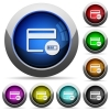 Verifying credit card round glossy buttons - Verifying credit card icons in round glossy buttons with steel frames