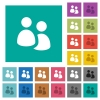 User group square flat multi colored icons - User group multi colored flat icons on plain square backgrounds. Included white and darker icon variations for hover or active effects.