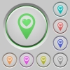 Favorite GPS map location push buttons - Favorite GPS map location color icons on sunk push buttons