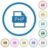 PHP file format icons with shadows and outlines - PHP file format flat color vector icons with shadows in round outlines on white background