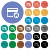 Set credit card as default round flat multi colored icons - Set credit card as default multi colored flat icons on round backgrounds. Included white, light and dark icon variations for hover and active status effects, and bonus shades on black backgounds.