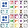 Move down component outlined flat color icons - Move down component color flat icons in rounded square frames. Thin and thick versions included.
