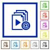 Send playlist via email flat framed icons - Send playlist via email flat color icons in square frames on white background