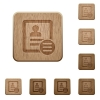 Contact options wooden buttons - Contact options on rounded square carved wooden button styles