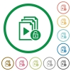 Unlock playlist flat icons with outlines - Unlock playlist flat color icons in round outlines on white background