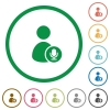 User broadcasting flat icons with outlines - User broadcasting flat color icons in round outlines on white background