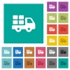 Transport square flat multi colored icons - Transport multi colored flat icons on plain square backgrounds. Included white and darker icon variations for hover or active effects.