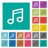 Music note square flat multi colored icons - Music note multi colored flat icons on plain square backgrounds. Included white and darker icon variations for hover or active effects.