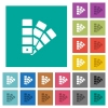 Color swatch square flat multi colored icons - Color swatch multi colored flat icons on plain square backgrounds. Included white and darker icon variations for hover or active effects.
