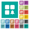 Component alert square flat multi colored icons - Component alert multi colored flat icons on plain square backgrounds. Included white and darker icon variations for hover or active effects.