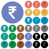 Indian Rupee sign round flat multi colored icons - Indian Rupee sign multi colored flat icons on round backgrounds. Included white, light and dark icon variations for hover and active status effects, and bonus shades on black backgounds.