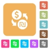 Dollar new Shekel money exchange rounded square flat icons - Dollar new Shekel money exchange flat icons on rounded square vivid color backgrounds.