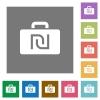 Israeli new Shekel bag square flat icons - Israeli new Shekel bag flat icons on simple color square backgrounds