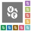 Yen Rupee money exchange square flat icons - Yen Rupee money exchange flat icons on simple color square backgrounds