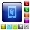 E-book color square buttons - E-book icons in rounded square color glossy button set