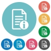 Document info flat round icons - Document info flat white icons on round color backgrounds